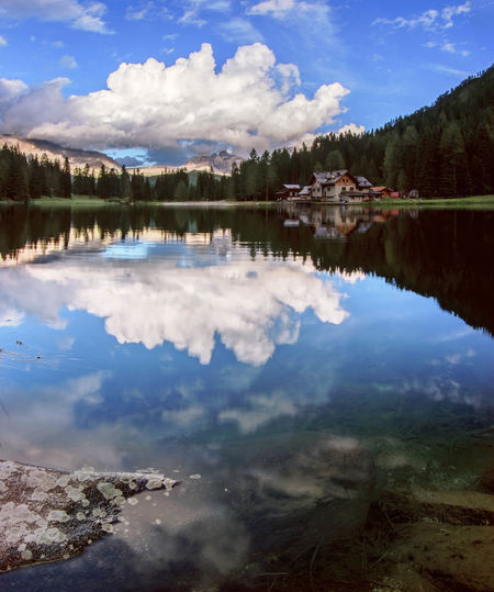 Double clouds ⛅ Reflection Cloud - Sky Lake Water Tree Sky Mountain Pinaceae Landscape Scenics Tranquility Forest Outdoors Wilderness Nature Beauty In Nature Dolomites, Italy Trentino Alto Adige Lago Nambino