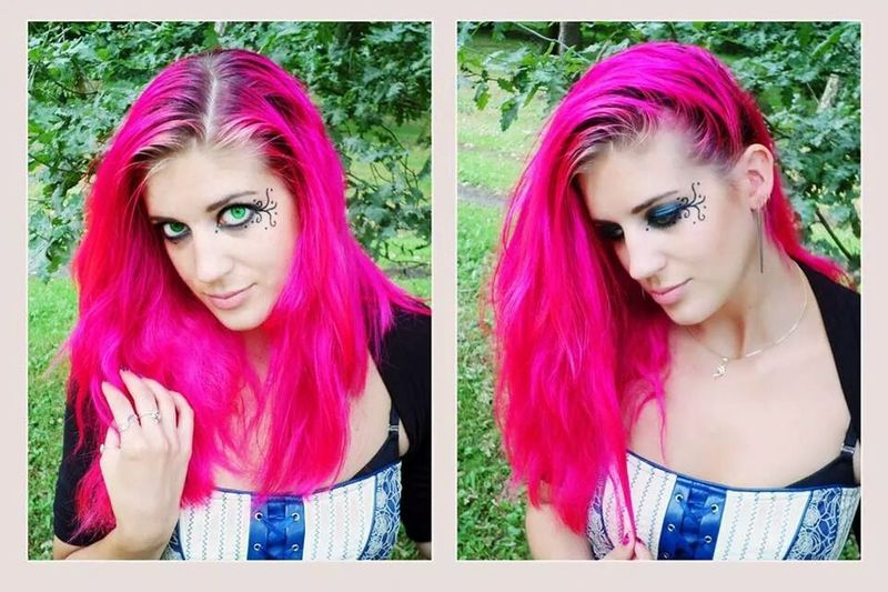 Funmodeling with a friend 1 year ago.. Modeling Duo Shoot Pink Hair Funky/punk