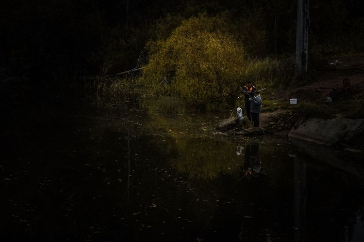 Man standing by lake in forest