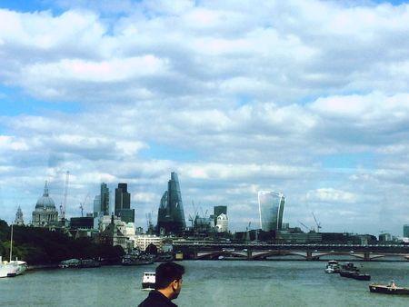 London at a Glance Sky Skyscrapers City Urban Bridge Man River Thames