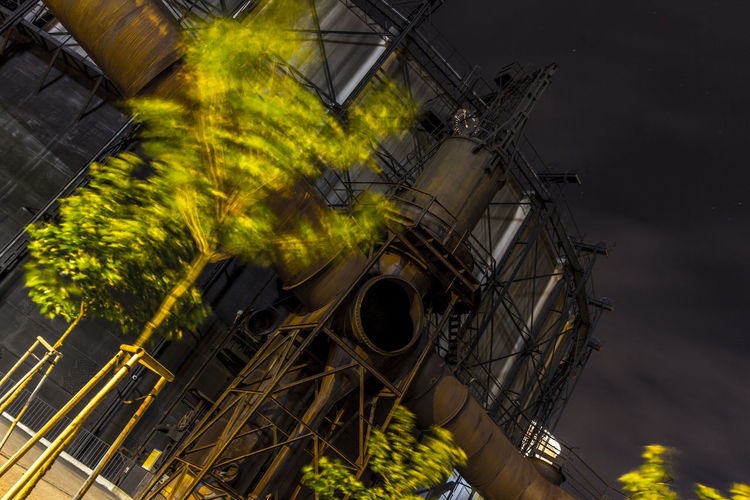 Architecture Built Structure Coalmine Dolni Oblast Vitkovice Factory Building Factory Night View Futuristic Industry In City Industry Vs Nature Long Exposure Night Sky No People Outdoors Sky Spinning Steel Factory Vitokovice