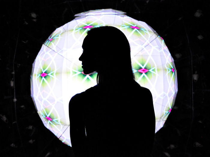 Source of All Art Illuminated Illusion Light And Shadow Lightball One Person People Projection Silhouette Women