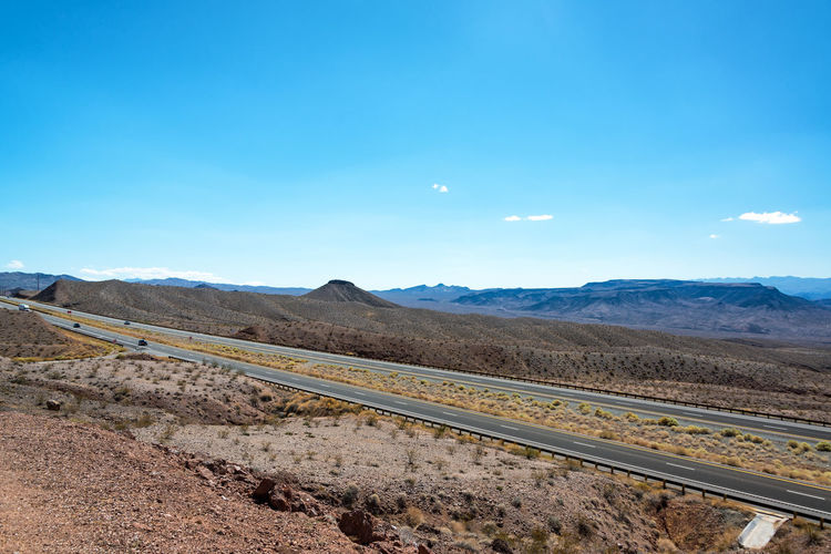 Arid landscape and Interstate 93 in Arizona Arizona Hills Interstate 93 Road Route 66 Travel USA United States Blue Day Highway Hill Interstate Landscape Nature Outdoors Road Road Trip Scenics Seligman Sky Tourism Travel Destinations