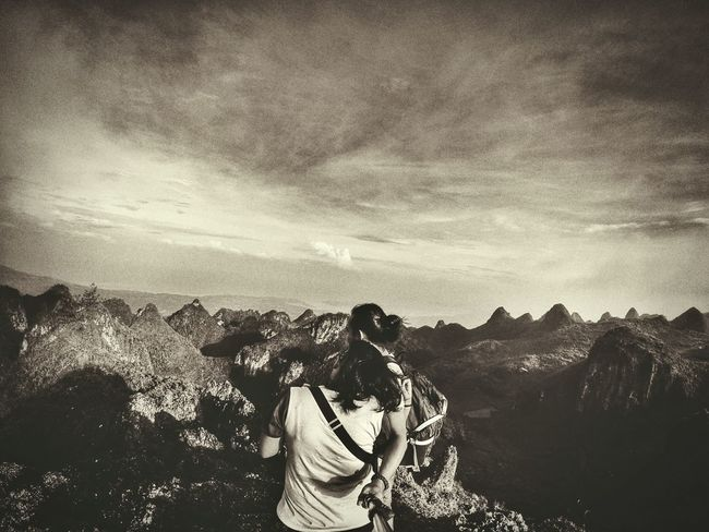 you me..me you... Taking Photos Travel The Human Condition Mountains And Sky Black And White Yi Action Cam Eyeem Philippines Kokopaps Snapseed Osmeña Peak
