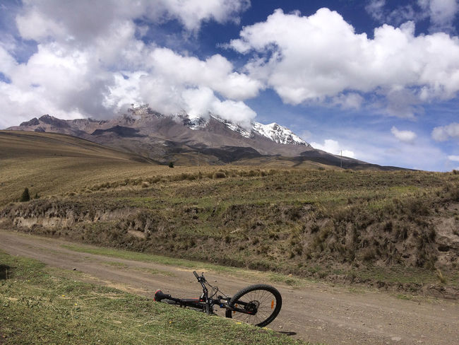 chimborazo Mountain Sport Chimborazo Wilderness Transportation Tranquil Scene Sky Scenics Scenery Outdoors No People Nature Mountain Range Mountain Bike Mountain Mode Of Transport Landscape Land Vehicle Grass Day Cloud - Sky Bicycle Beauty In Nature