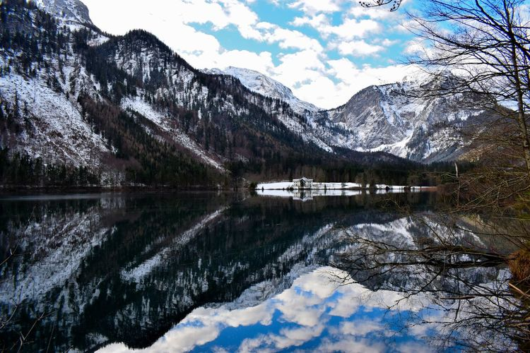 Langbathseen EyeEm Best Shots EyeEm Selects EyeEm Nature Lover Nature Austria Austrian Nature Austrian Alps Cover Water Tree Mountain Snow Cold Temperature Winter Lake Reflection Sky Mountain Range Standing Water Reflection Lake Lakeshore Snowcapped Mountain Symmetry