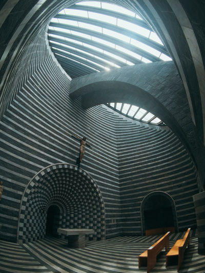 Mario Botta Mogno Travel Travel Photography Adult Arch Architecture Built Structure Ceiling Day Full Length Indoors  Leisure Activity Lifestyles Low Angle View Men One Person Pattern Real People Rear View Staircase Standing Switzerland Walking