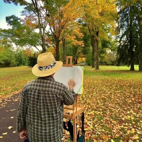 Rear view of man in park during autumn