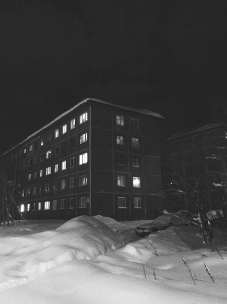 Snowy Walk in Winter Night in Murmansk Small City Life House Houses And Windows Black And White Monochrome EyeEm Best Shots - Black + White
