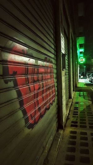Graffiti Art Graffiti Wall Graffiti & Streetart Streetphotography Street Photography Red Green Turin Italy Nightphotography Nightlife Nightshot In A Row Indoors  No People Day Locker Room Architecture