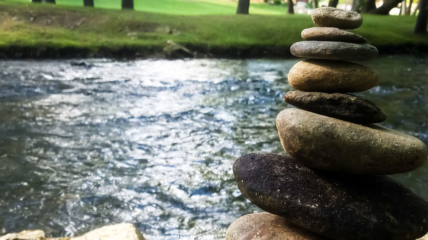 I saw stone stacks at a creek and had to take photos! Balance Stack Day Outdoors Close-up Water