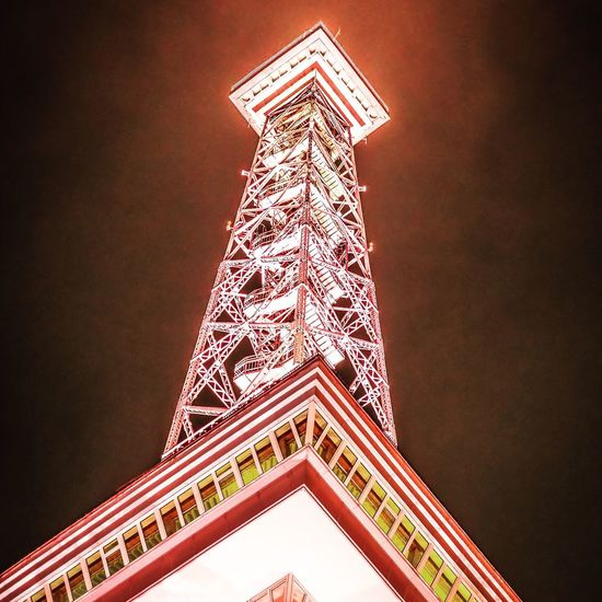Stahlgerüst Steel Stahlkonstruktion Stahl Berliner Funkturm Funkturm Berlin Funkturm TV Tower Foggy Nacht Low Angle View Architecture Built Structure Low Angle View No People Illuminated Building Exterior Tower Tall - High Travel Destinations Travel City Tourism Sky Night Directly Below