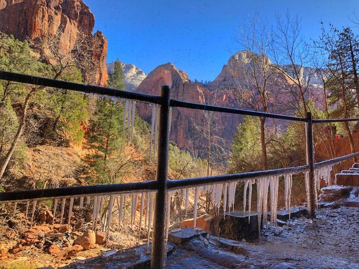 Icicles in Zion Fence Nature Barrier Boundary Safety Security Water Outdoors Wet