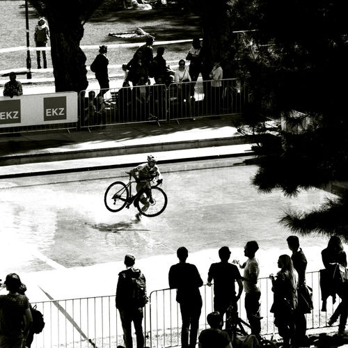 crossing the water with a bike, walking Gry Et L'aventure Reflection Bicycle Race Film Photography 35mm Film Analogue Photography Bnw_friday_eyeemchallenge Bnw_bike Water Vehicle City Men Tree Bicycle Silhouette Cycling Women City Life Standing Street