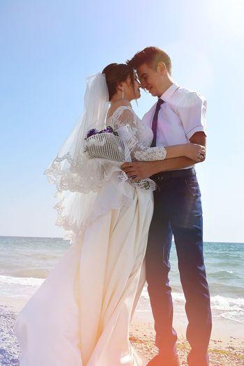 Bride Water Men Sea Beach Standing