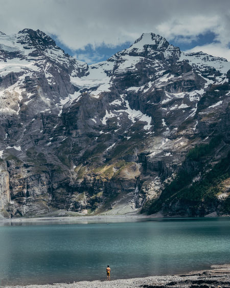 Mountain Water Beauty In Nature Scenics - Nature Sky Environment Nature Day Tranquility Non-urban Scene Scenery Landscape Tranquil Scene Sea Snow Cold Temperature Mountain Range Outdoors Snowcapped Mountain Mountain Peak Oeschinensee