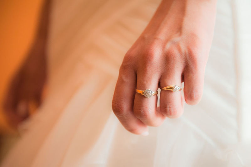 Cropped hand of woman wearing rings