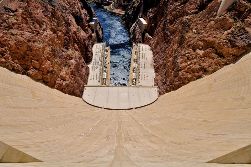 High angle view of hoover dam on sunny day