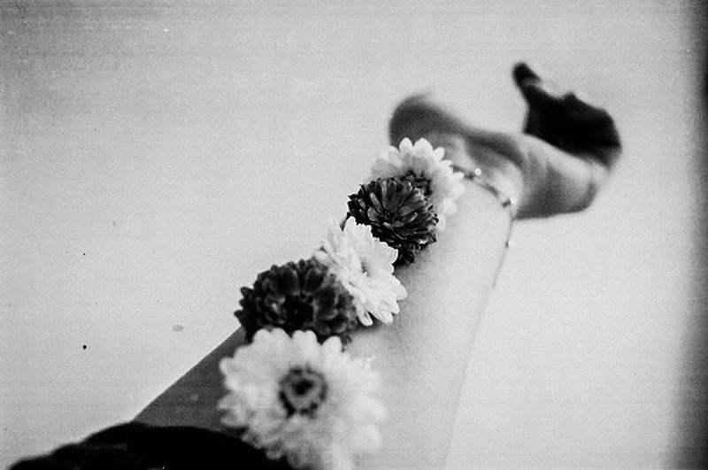 Body Flowers Art Black And White