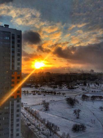 Sunset Sun Winter Cold Temperature Snow Sky Orange Color
