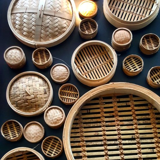 High angle view of wicker containers