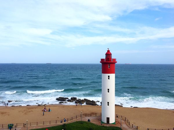 Lighthouse Beach Sea Water Guidance Sky Direction Horizon Over Water Built Structure Building Exterior Outdoors Sand Safety Day Cloud - Sky Durban South Africa Kwazulu Natal