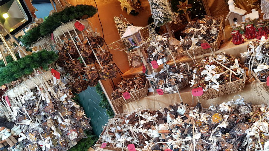 High angle view of market for sale in store