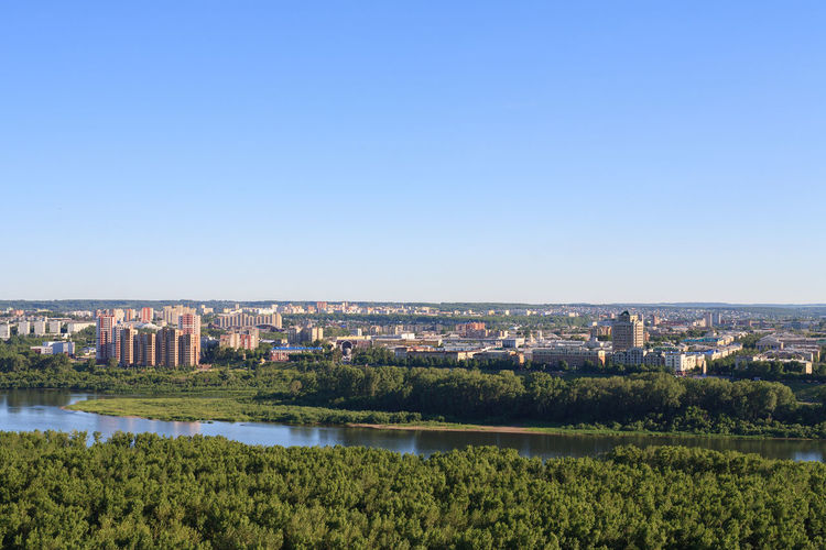 Central part of Kemerovo city. Kemerovo Siberia Summer Outdoors River Riverside City Cityscape Clear Sky Urban Skyline Sky Architecture Building Exterior Built Structure Green Color