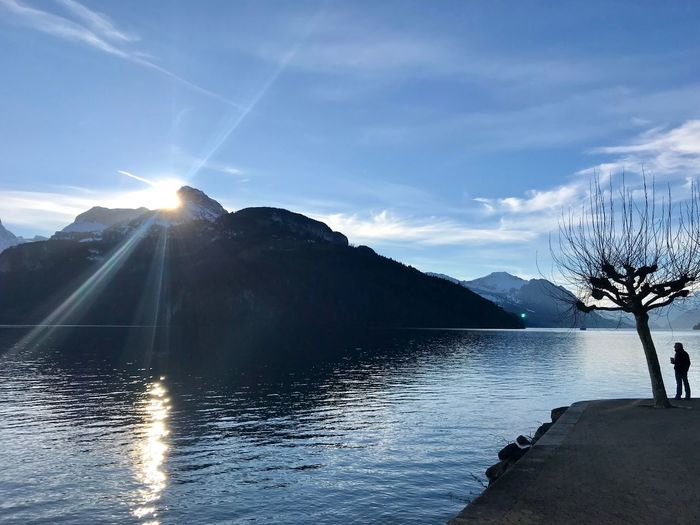 Zug Lake Shades Of Winter Mountain Sky Sunbeam Nature Sun Water Lens Flare Lake Sunlight