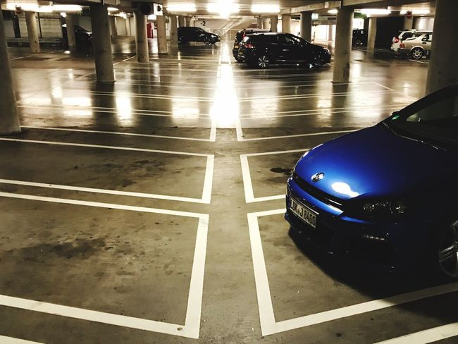 Marking Of Road Car Transportation Illuminated Neon Lights Scirocco Volkswagen Indoors  Architecture Carpark