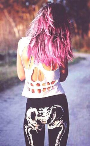 Pink Hair Shirt Skull Skeleton