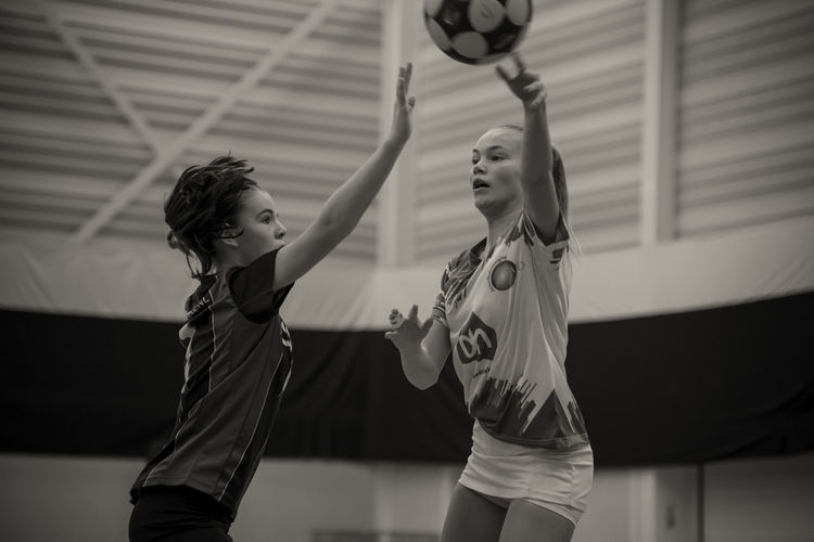 Korfbal, a typical Dutch sport :) Blackandwhite Exercising Females G Indoors  Korfbal Korfball Match - Sport Netherlands Sport Sports Clothing Sports Photography Two People Young Women
