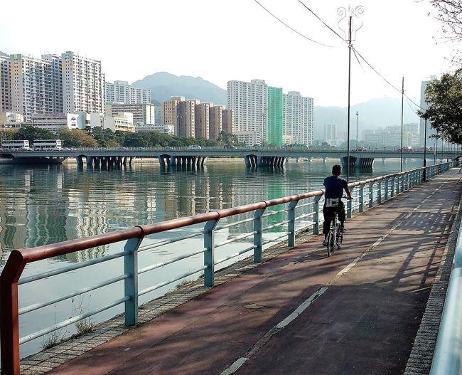 Apartments Bike Buildings Cycle Path Cyclist Flats New Territories River Riverside View Sha Tin Shing Mun River Water Bridge Adapted To The City Neighborhood Map The Street Photographer - 2017 EyeEm Awards