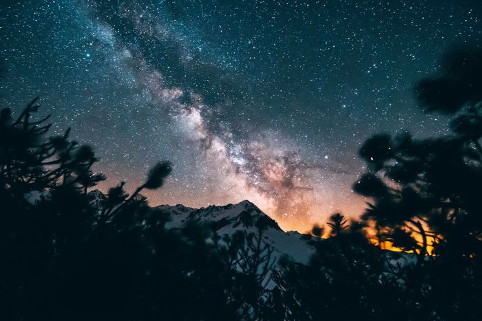 The Great Outdoors - 2017 EyeEm Awards Night Mountain Astronomy Star - Space Nature Milky Way Galaxy Sky Beauty In Nature Landscape Tree Scenics Outdoors Tranquility Low Angle View No People Mountain Range Constellation Cold Temperature Space Starry Sky Adventure