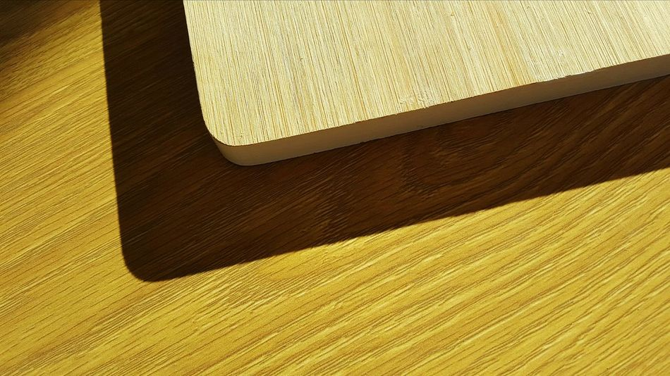 High Angle View Full Frame Afternoon Sunlight Table New Perspective Wooden Chopping Board Edge
