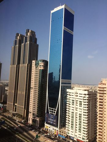 Architecture Building Exterior Dubai City Shaikh Zayed Road Built Structure Skyscraper Low Angle View Sunlight No People Taking Photos