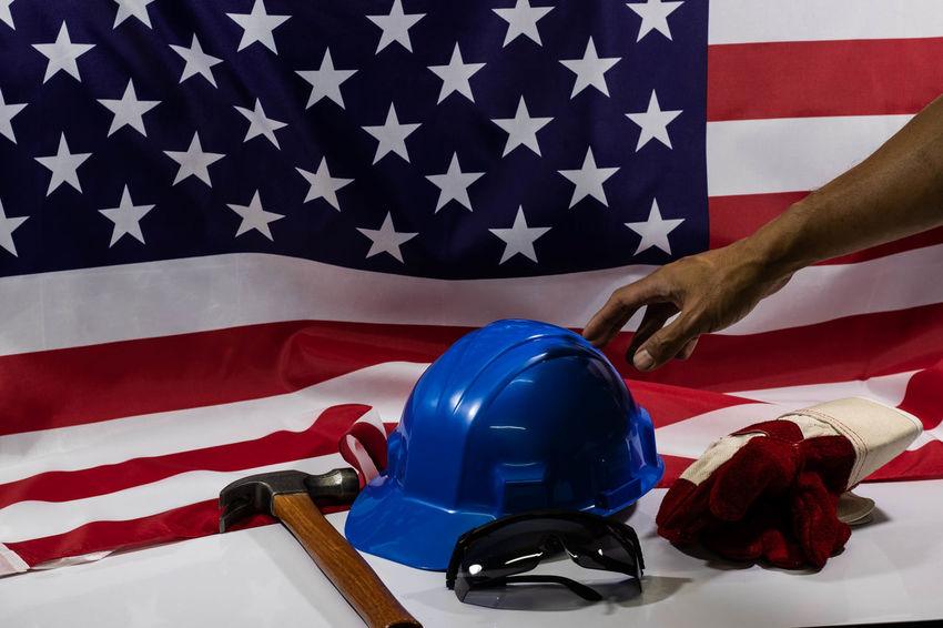 America USA Labour Labour Day USA FLAG Labour Day Labor Day Labor Day Weekend Work Blue Flag Government Hand Human Body Part Human Hand Indoors  Labor Laboratory Laboratory Work Shape Star Shape Striped Unrecognizable Person