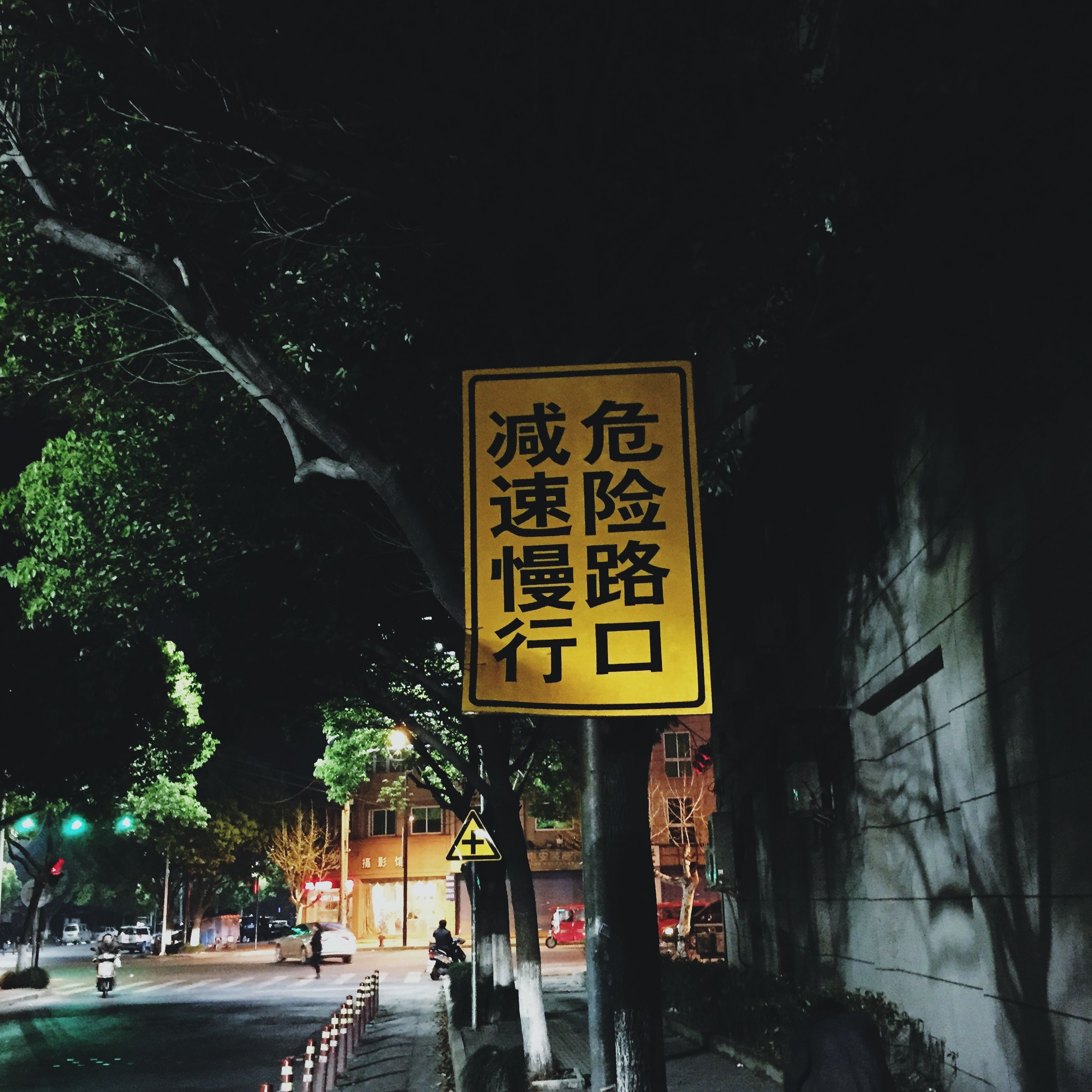 text, western script, illuminated, night, communication, information sign, sign, non-western script, information, street, tree, building exterior, built structure, capital letter, road sign, architecture, guidance, street light, outdoors, city