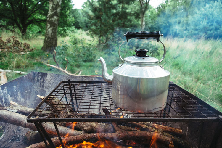 Coffee Time Kettle Barbecue Barbecue Grill Bonfire Burning Camping Camping Stove Day Fire Fire - Natural Phenomenon Flame Food Food And Drink Heat - Temperature Household Equipment Kitchen Utensil Nature No People Outdoors Preparation  Preparing Food Smoke - Physical Structure Tree