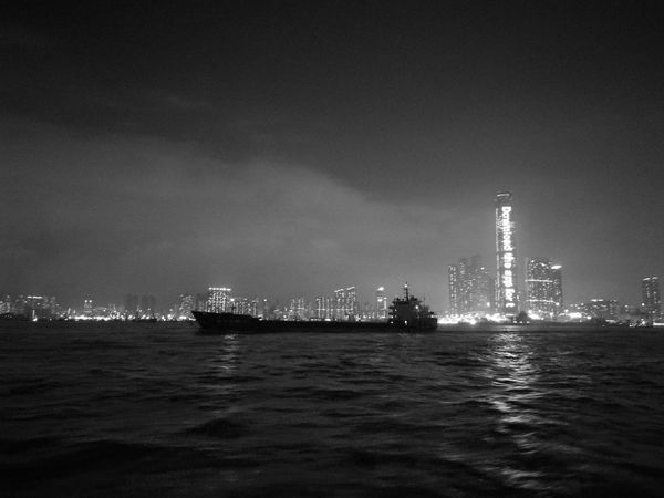 Silent barge hk Night Water Sea Skyscraper