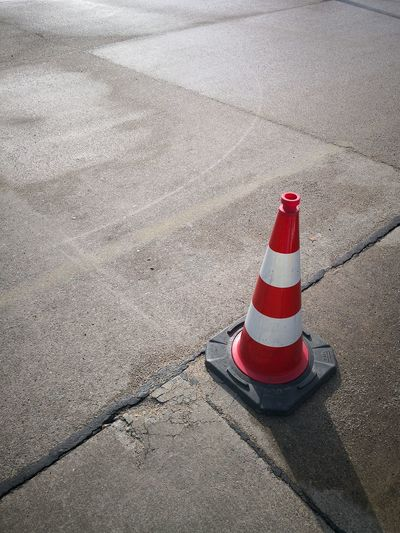 High angle view of traffic cone on road