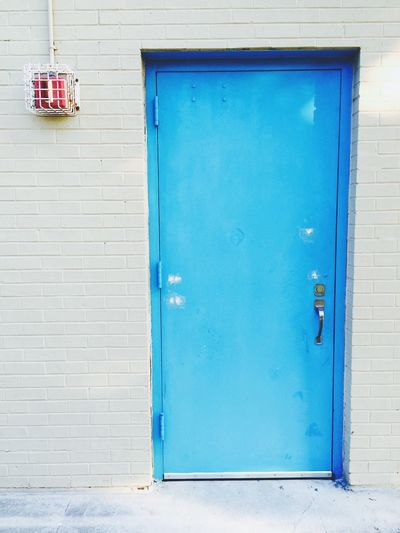 High School Door Blue Door Brick Wall Saturation Red Box