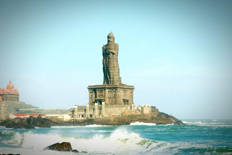 Thiruvalluvar Statue In Sea Against Clear Sky