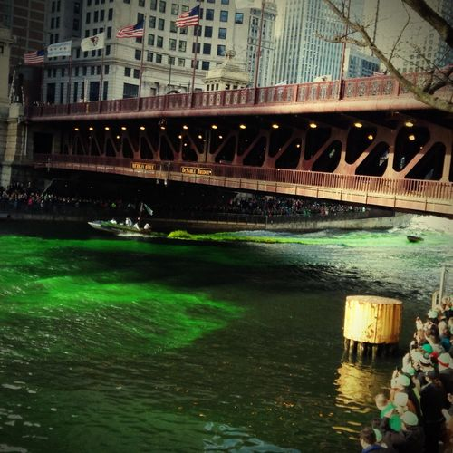 Chicago Dying River Green Downtown Chicago St Paddys Day Green River
