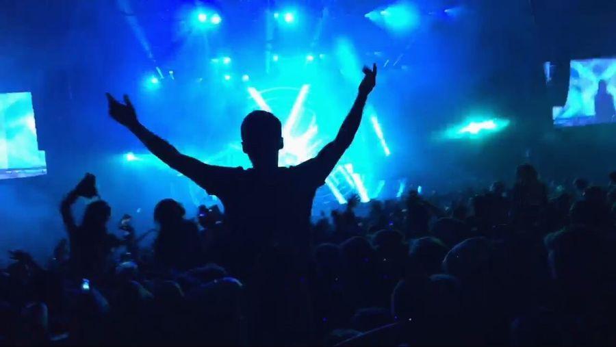 Music Crowd Silhouette Arms Raised Performance Nightlife Enjoyment Illuminated Calvinharris Concert
