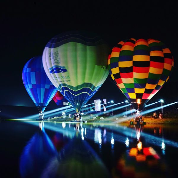 Night Transportation Illuminated Hot Air Balloon Multi Colored Mode Of Transport Ballooning Festival Air Vehicle No People Event Outdoors