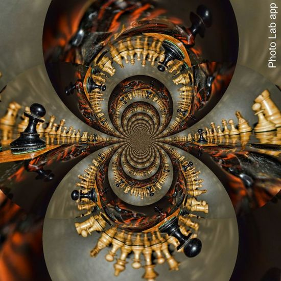 Abstract Fractal Kaleidoscope Strategizing Chesspieces Hourglass Check This Out