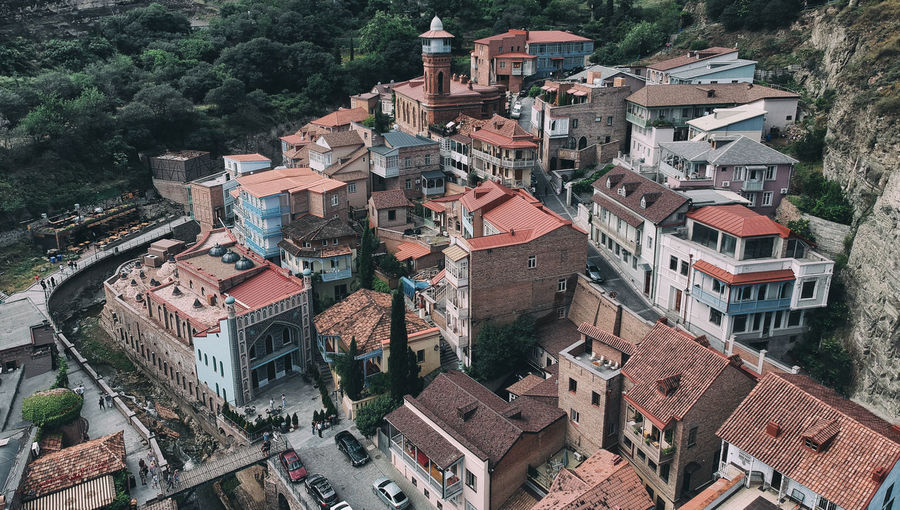Georgia Tbilisi Architecture Building Building Exterior Built Structure City Community Crowd Crowded Day Geogia Tbilisi High Angle View House Nature Outdoors Plant Residential District Roof Roof Tile Tbilisi Panorama Town TOWNSCAPE Travel Destinations Tree