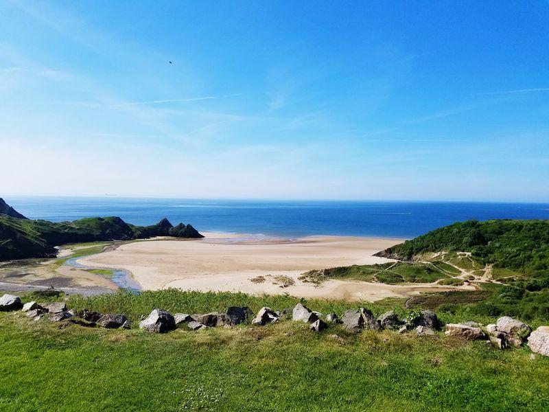 Three Cliffs Bay, South Wales Swansea Wales Water Sea Beach Blue Summer Sky Horizon Over Water Grass Landscape Cloud - Sky Coastline Seascape Rocky Coastline Sandy Beach Coast Shore Seashore Cliff