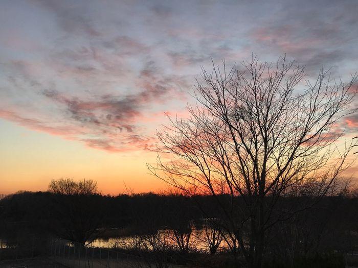 今日の夕焼け風景 #上野沼 #夕焼け 夕焼け Sunset Beauty In Nature Sky Scenics Orange Color Tranquil Scene Nature
